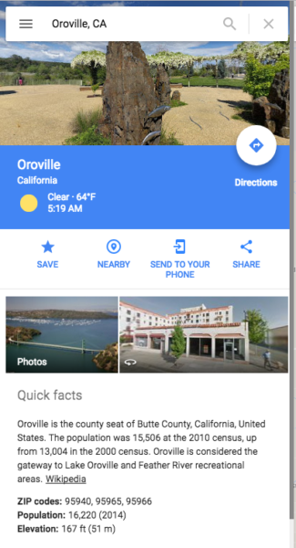 A Google Maps card for Oroville, California on Monday, May 29, 2017. The top image is from one of my photospheres.